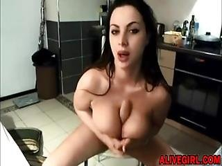 Busty Kissrose With Big Hot Lips Masturbates Her Wet Pussy