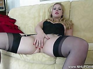 Blonde Aston Wilde Strip Tease In Vintage Lingerie Heels Black Nylons Slips Down Sheer Panties Wanks