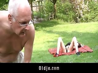 Oldman Man Gets To Fuck Hussy Teeny