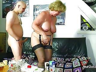 German Grandma Seduce Grandson To First Fuck In Lingerie