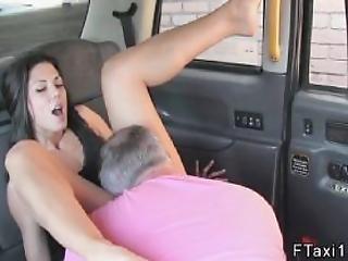 Brunette Gives Footjob In Fake Taxi