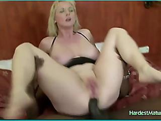 Blonde Takes Black Colored In Two Holes