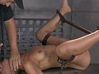 Restrained Latin Babe Lyla Storm Is Absolutely Destroyed By Giant Dicks