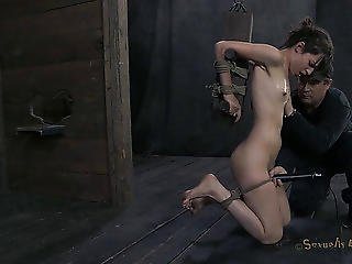 Slim Kristine Is Fastened Up And Deepthroated In The Sex Dungeon
