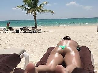 Candid Thong Bikini Tanning At The Beach
