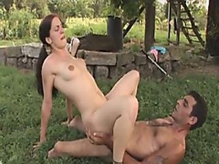 A Slutty Brunette Chick Sucks Hard Penis Of A Horny Handicapped Guy Then Gets Fucked Doggystyle