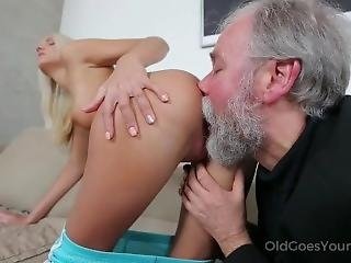 Blonde Babe And Old Guy