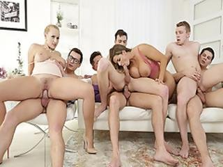Angel Wicky And Chloe D Gets Surrounded By Dicks