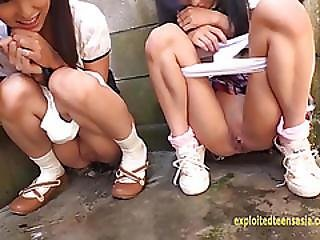 Petite Jav Teen Schoolgirls Rina And Asami Give Public Bj And Piss Exceptional Clip