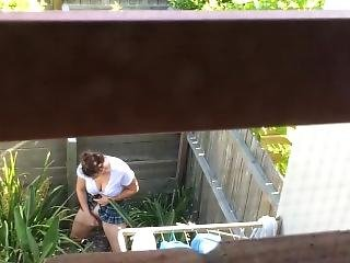 Dad Catches & Records Daughter Fucking Herself In Backyard