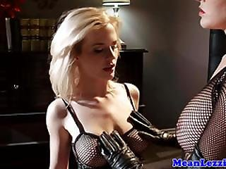 Lezdom Mistress Footworshipped By Her Subject