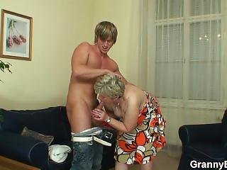 Young Guy Screwed Old Granny On The Couch