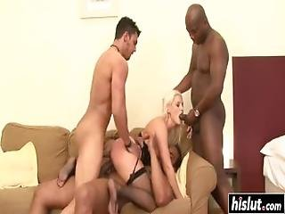 Horny Blonde Gets Two Black Cocks