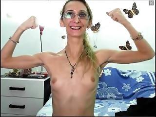 Skinny Russian Milf Flexes On Cam