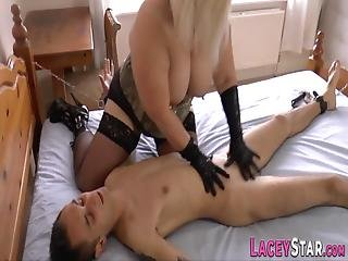 Dominating Busty British Grandma Sucks And Rides Bound Losers Cock