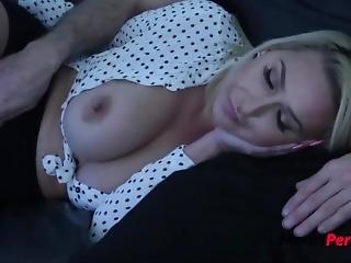 Sleeping Blonde Stepmom Blows Son- Nina Kayy
