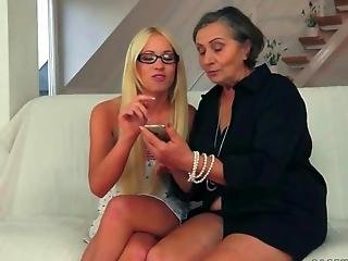 Beautiful Teen And Hairy Granny Enjoying Nasty Sex