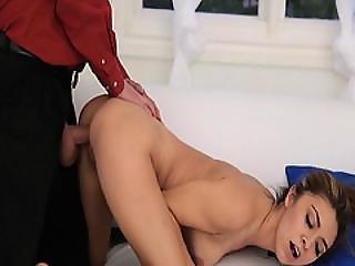 Daddy Romping Kara Fauxs Pussy Hard Doggystyle