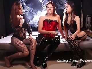 3 Hot Asian Girls Smoking