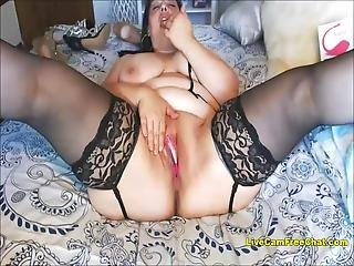 This Is Real Fat Teenager, Thick And Chubby And She Is Hot For All Curvy Woman Big And Beautiful In Stockings While Fucking Her Ass With Huge Dildo!