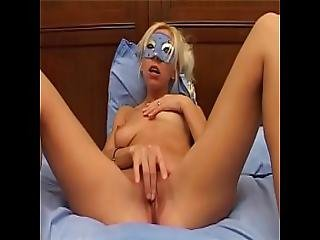 Young Blonde In Mask Jerking Off Her Wet Pussy