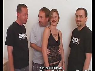 Hood Rat Blonde Group Fuck Sperm Swallow