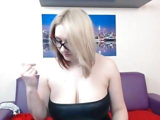 Webcam Blonde In Black Leather Dress Smokes And Slaps Her Huge Tits
