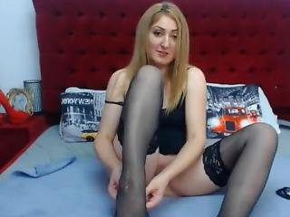 Idiot Webcam Slut In Black Stockings Touching Pussy With My Tips