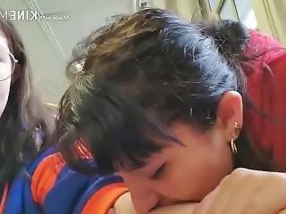 School Girl Biting