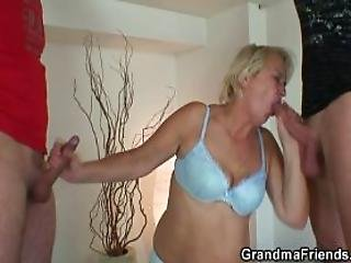 Old Cleaning Woman Seduced Into Threesome