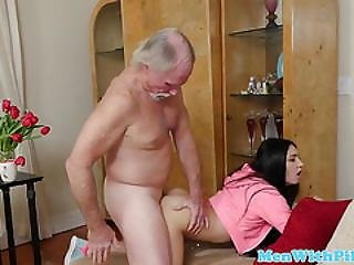 Gorgeous Teen Slammed By Old Mans Dick