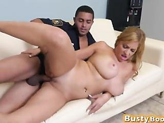 Naughty Busty Blonde Sucking Cock Of Police Officer