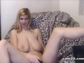 Amazing Blonde Teen With Huge Natural Tits Rubbing Her Pussy