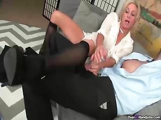 Ov40-stockings And High Heels Handjob