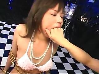 Asian Girl In Lingerie Tied To Pillar Getting Her Mouth Fingered Pussy Rubbed Sucking Vibrator On Th