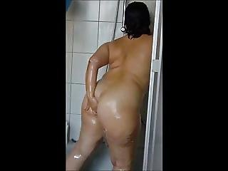 Mature German Lady Taking A Shower