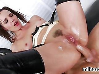 Foxy Lesbians Fill Up Their Enormous Asses With Milk And Squirt It Out