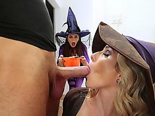 Milf Cory Celebrates Halloween With An Orgy With Teen Anastasia