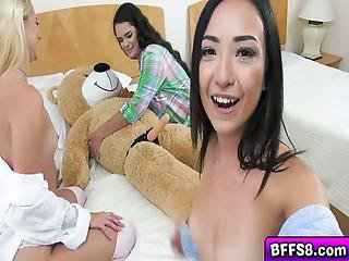 Sexy Bbfs Play And Fuck With A Giant Teddy Bear