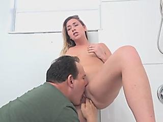Beautiful Busty Teen Got Her Pussy Eaten And Fingered By Her Dad