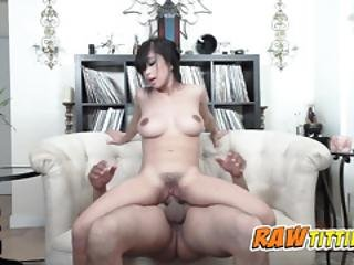 Asian Chick Gets Her Titties Filled With Champagne And Sucked