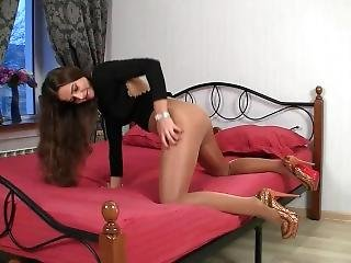 Sexy Teen In Tan Pantyhose Playing With Herself