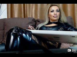 Perfect Goddess Smoke Slim Cigarette In Long Boots