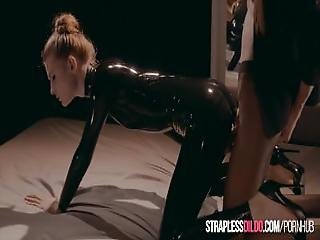 Latex Covered Rossy Bush Submits To Mia Reese