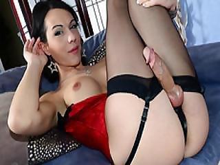 grosse bite, gros téton, brunette, éjaculation, masturbation, shemale, solo, stocker, trans