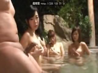 Big tits bathing erecting watching dick
