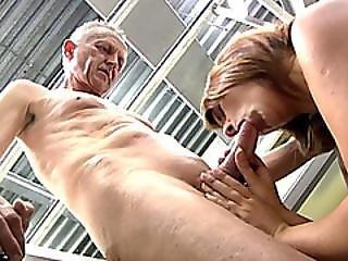 Grandpa Talks Young Brunette Into Sucking Him Off