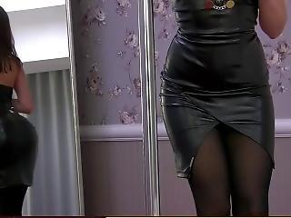 Webcam Model In Leather (?) Dress - Dance & Tease (2)