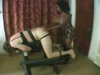 Slave In Bra And Panties Whipped By Domme