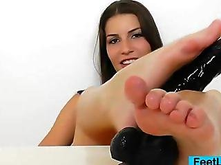 Cute Brunette Posing And Teasing In Addition To Foot